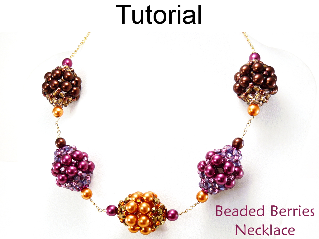 Beaded Beads Beading Pattern Tutorial - Beaded Chain Necklace - Simple Bead Patterns - Beaded Berries #634