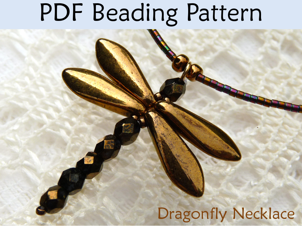 Beading Tutorial Pattern Necklace - Simple Bead Patterns - Dragonfly Necklace #481