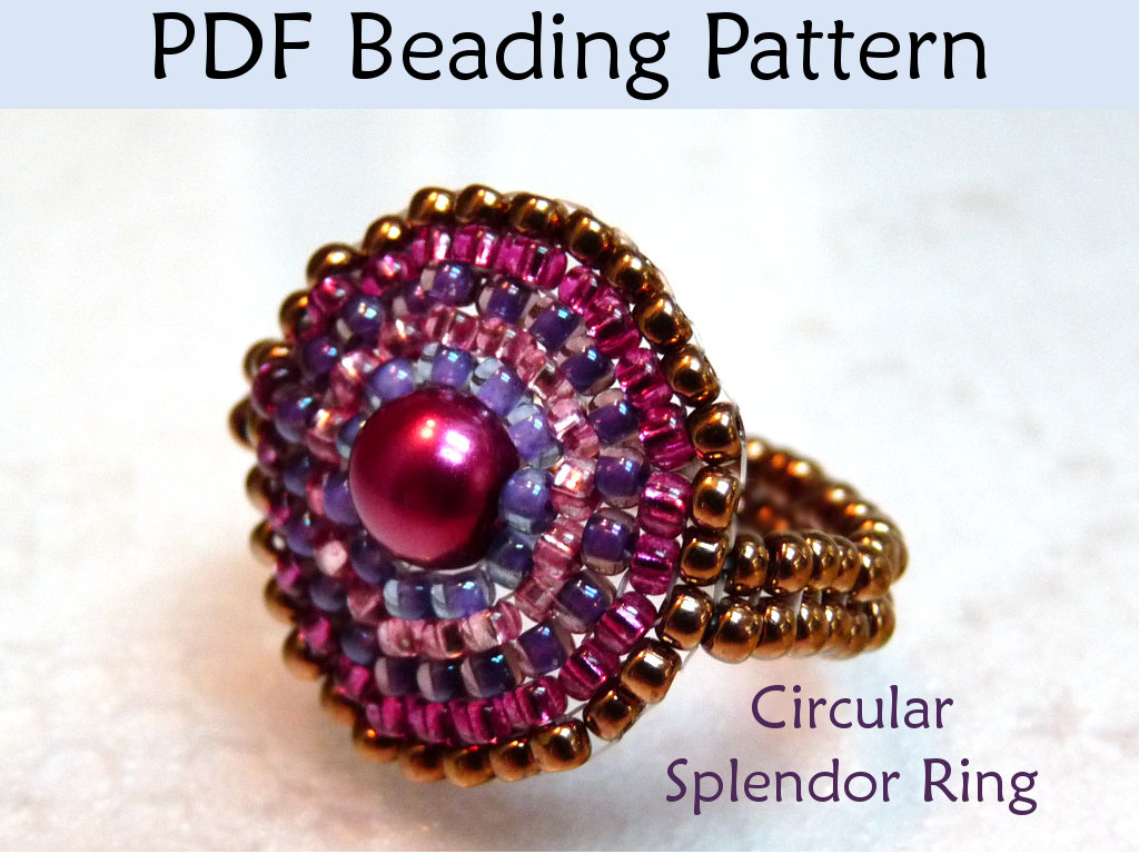 rings beaded ring pin beadwork peyote beading unique beadedring