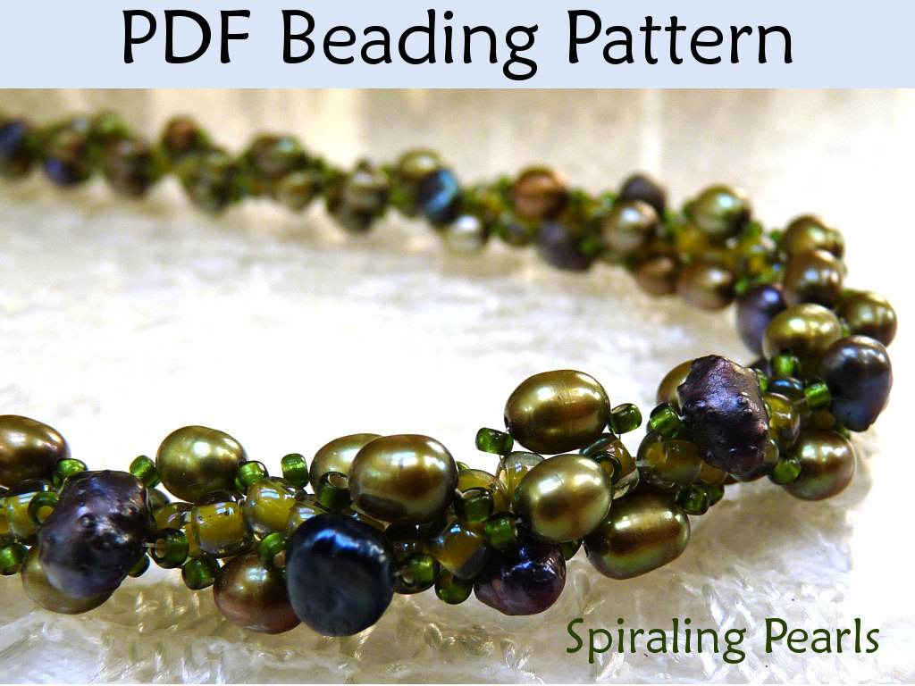 Necklace How To Beading Pattern PDF, Spiral Stitch, Pearl, Easy & Fast, Tutorial, Jewelry Patterns, Tutorials, Necklaces, Pearls, Seed Beads #349