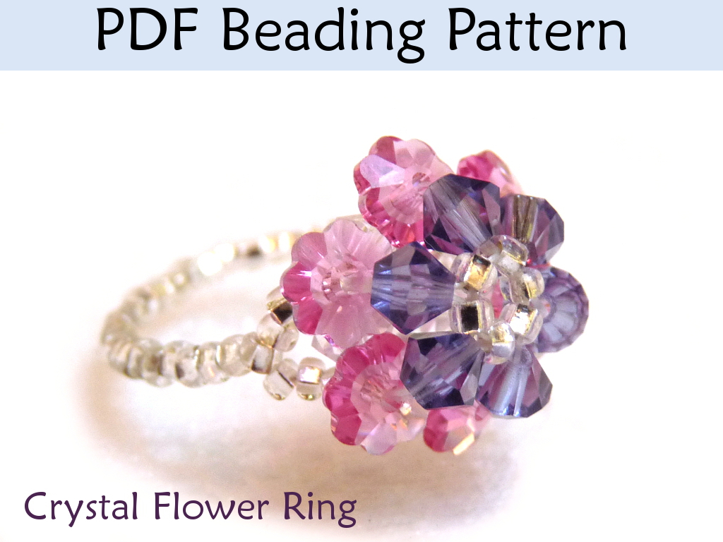 Beading Pattern Tutorial Beaded Ring Crystal Flower Beadstitching ...