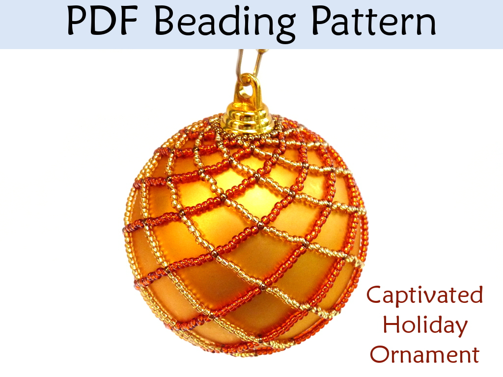"""Captiaved"" Holiday Ornament PDF Beading Pattern #2920"