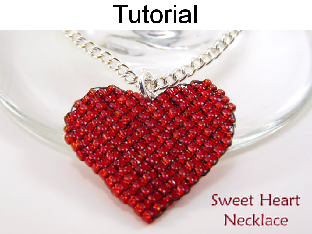 Beading tutorial pattern necklace pendant valentines heart jewelry beading tutorial pattern necklace pendant valentines heart jewelry square stitch simple bead patterns sweet heart necklace 4568 aloadofball Image collections