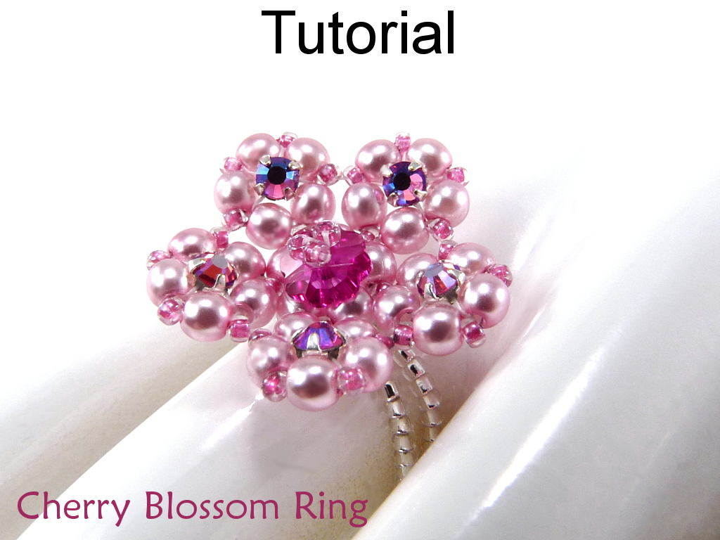 Beading Tutorial Pattern Ring Crystal Stretch Flower Jewelry