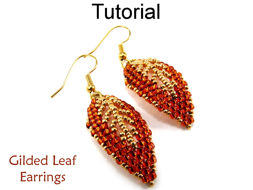 Beading Tutorial Pattern Earrings Diagonal Peyote Sch Simple Bead Patterns Gilded Leaf
