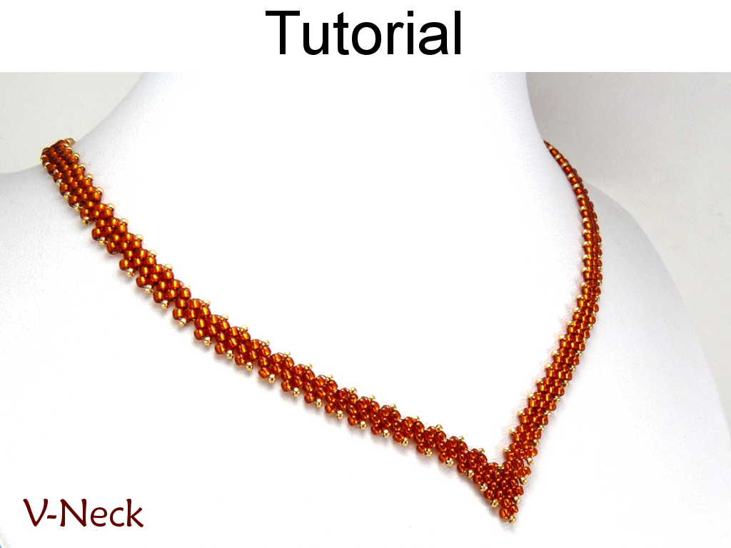 Peyote Stitch Necklace Patterns - Diagonal Peyote Tutorials - DIY Necklace - Jewelry Making - Simple Bead Patterns - V-Neck #149