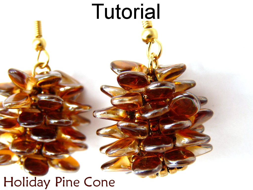 Beading Tutorial Instructions Earrings Necklace - Beaded Pine Cone with Pips - Simple Bead Patterns - Holiday Pine Codes #10290