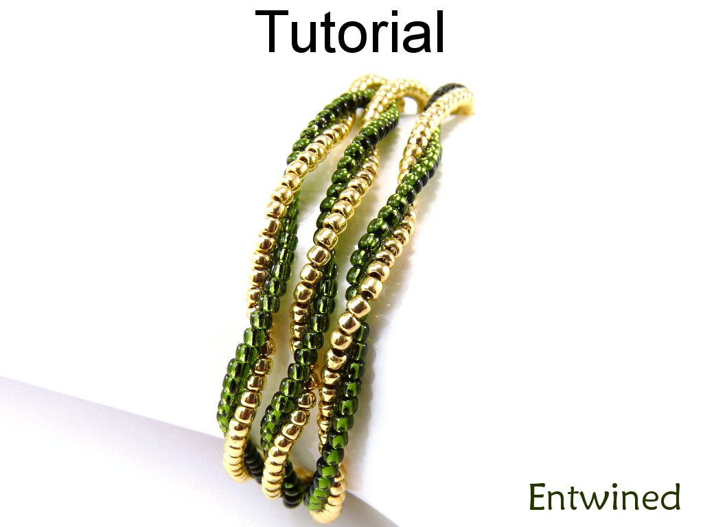 Beading Tutorial Pattern Bracelet Necklace - Beginner - Simple Bead Patterns - Entwined #10449