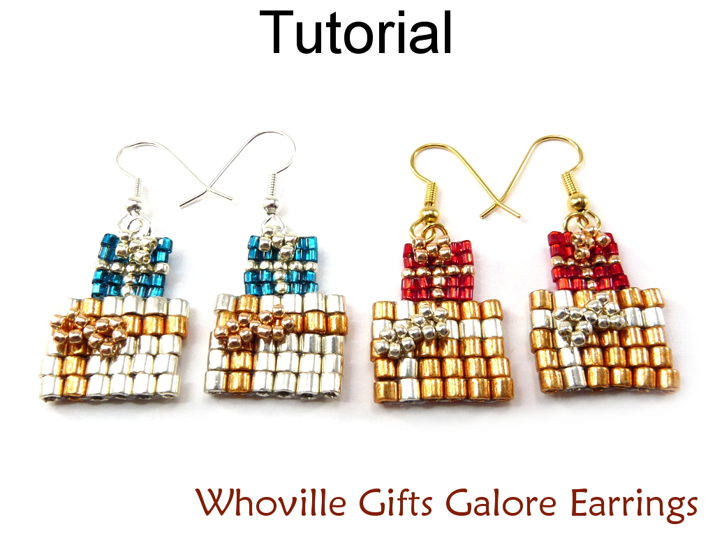 Beading Tutorial Pattern Earrings - Christmas Present Holiday Jewelry - Simple Bead Patterns - Whoville Gifts Galore #10526