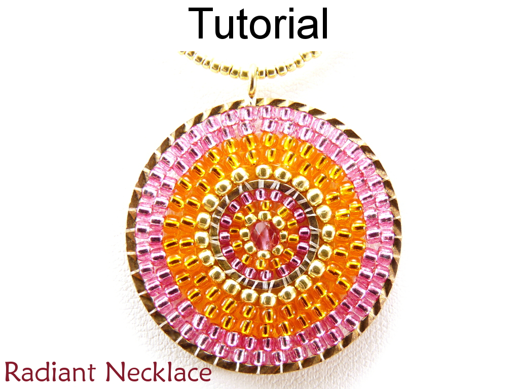 Beading Tutorial Pattern Necklace - Brick Stitch Pendant - Simple Bead Patterns - Radiant Necklace #11340