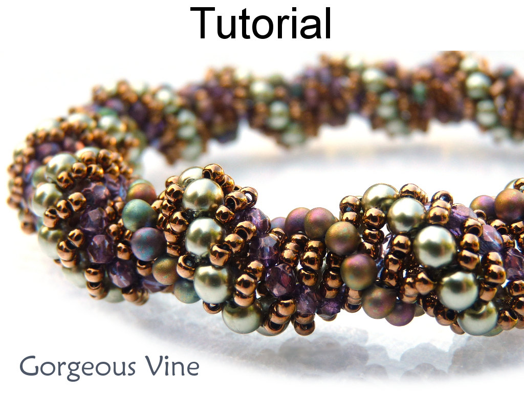 Beading Tutorial Pattern Bracelet Necklace - Dutch Spiral Stitch - Simple Bead Patterns - Gorgous Vine #1896