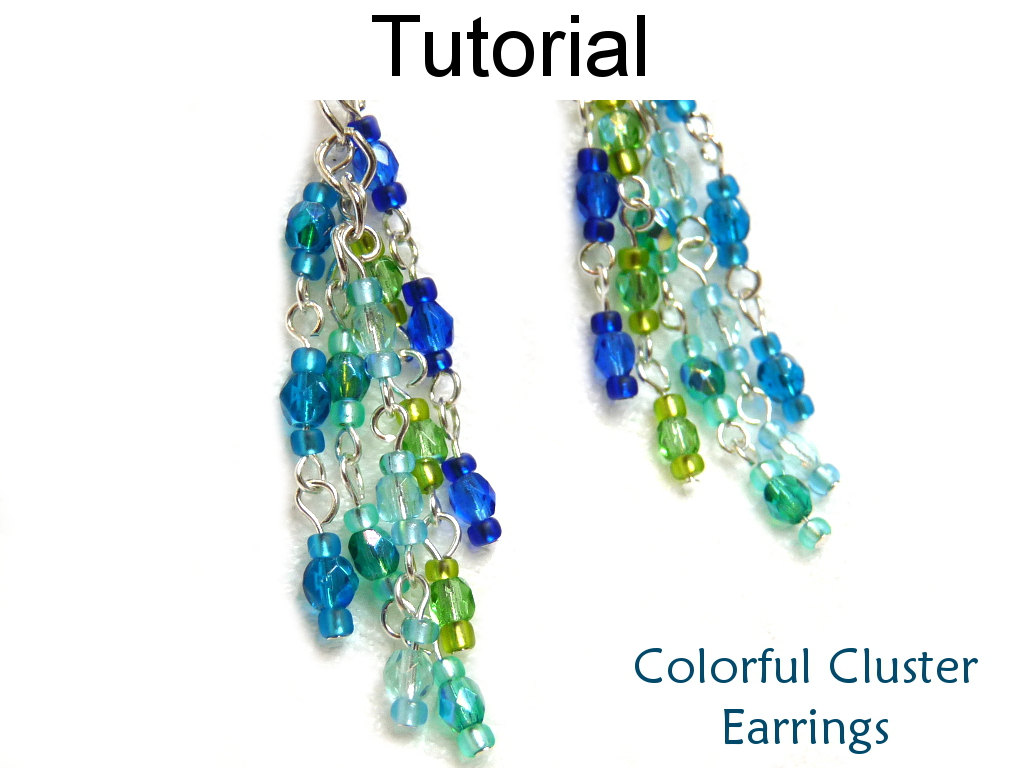 Beading Tutorial Pattern Earrings - Wire Working Chain - Simple Bead Patterns - Colorful Cluster Earrings #1521