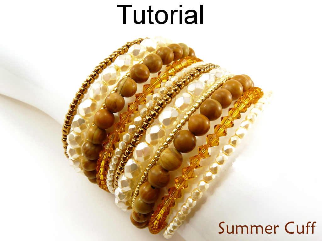 Beading Tutorial Pattern - Beaded Cuff Bracelet - Multi Bracelet ...