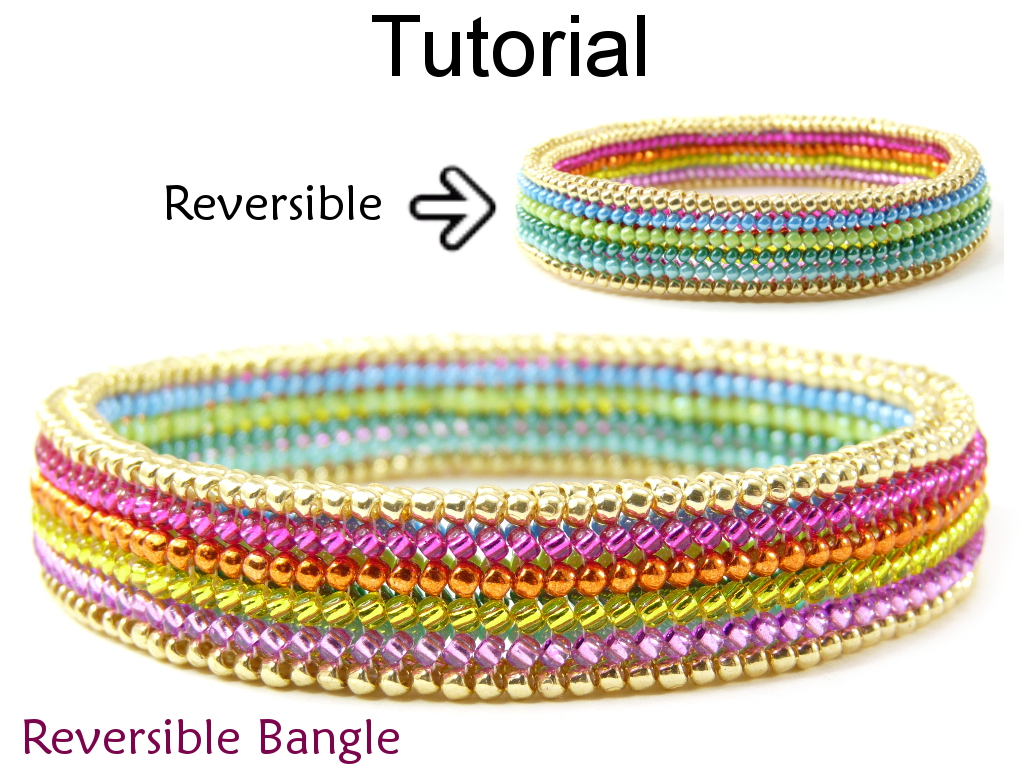 Beading Tutorial Pattern Bangle Bracelet Flat Tubular Herringbone Sch Simple Bead Patterns Reversible 15113