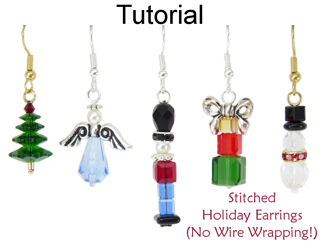 Christmas Earrings Beading Tutorial - Easy Beginner Project - No Wire Wrapping - Simple Bead Patterns - Stitched Holiday Earrings #15511