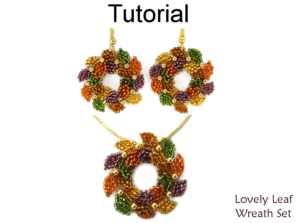 Christmas Holiday Beading Tutorial - Earrings And Necklace - Brick Stitch -  Simple Bead Patterns - Lovely Leaf Wreath Set #16575