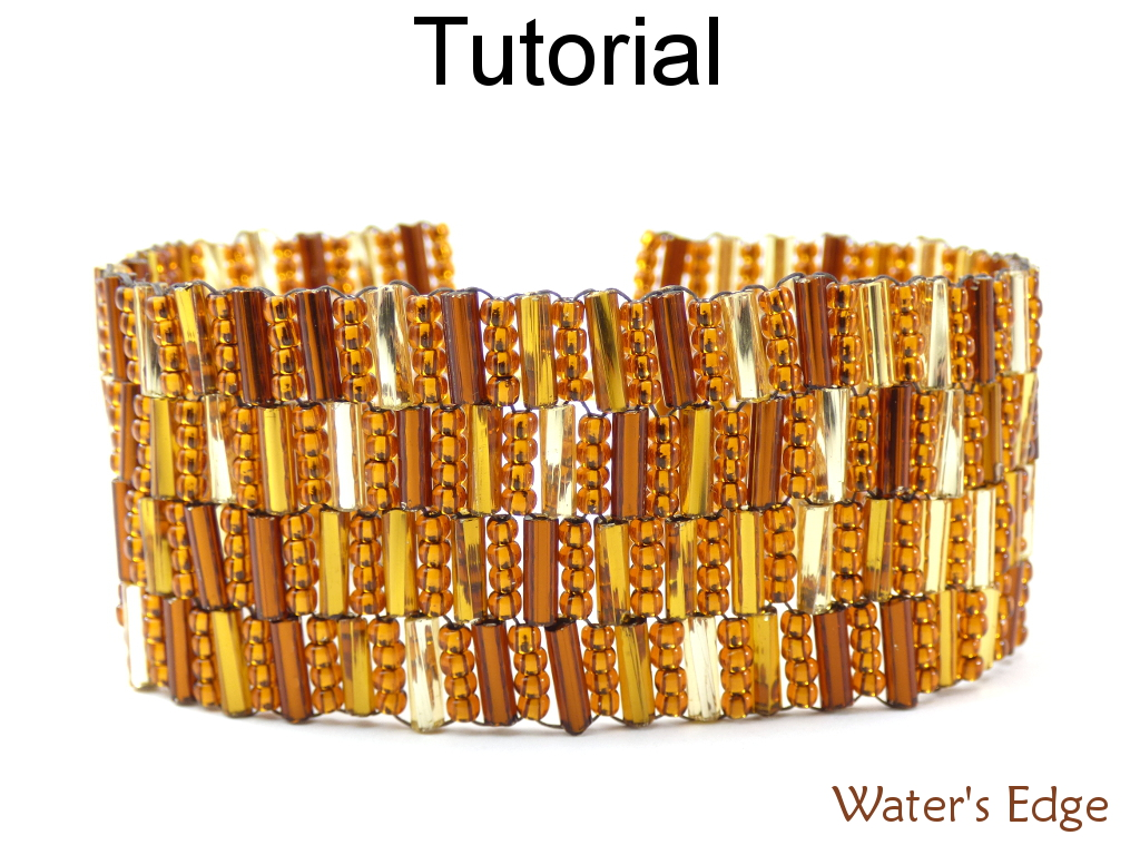 Beading Pattern Tutorial Bracelet - Modified Peyote Stitch - Bugles - Simple Bead Patterns - Water's Edge #17910