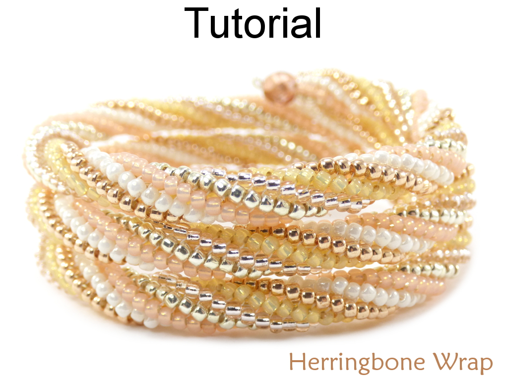 Beading Tutorial Pattern - Tubular Memory Wire Bracelet - Twisted  Herringbone Stitch - Simple Bead Patterns - Herringbone Wrap #18598
