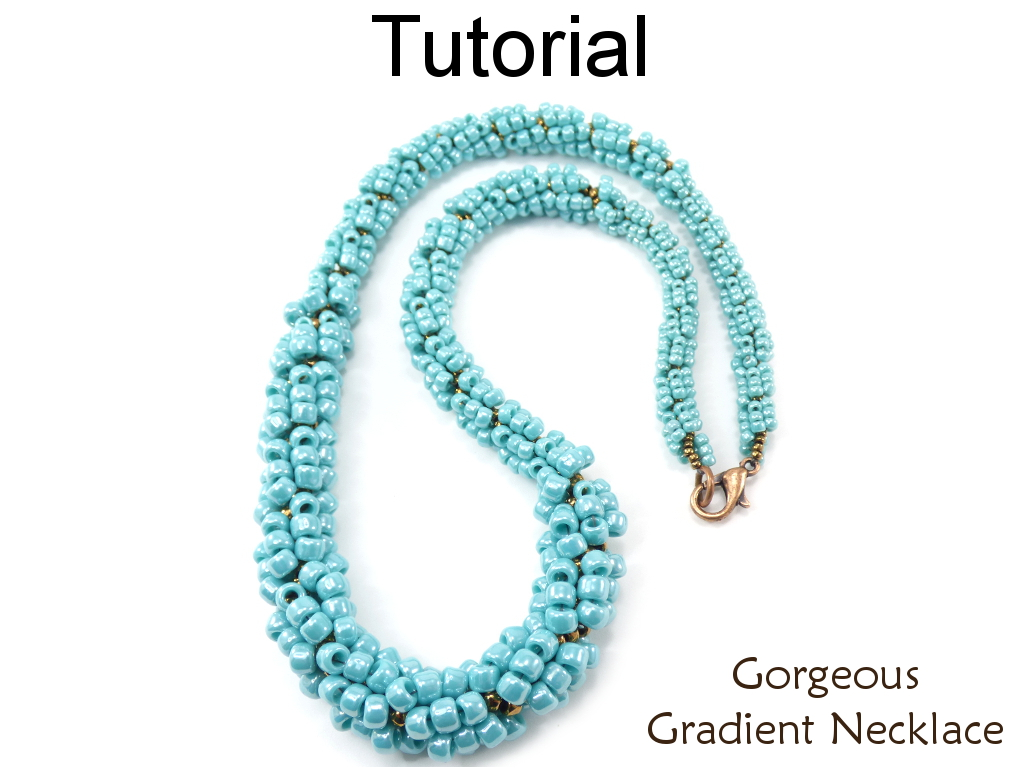 Beading Tutorial Pattern - Spiral Stitch - Gradating Size Beaded Rope Necklace - Simple Bead Patterns - Gorgeous Gradient Necklace #18736