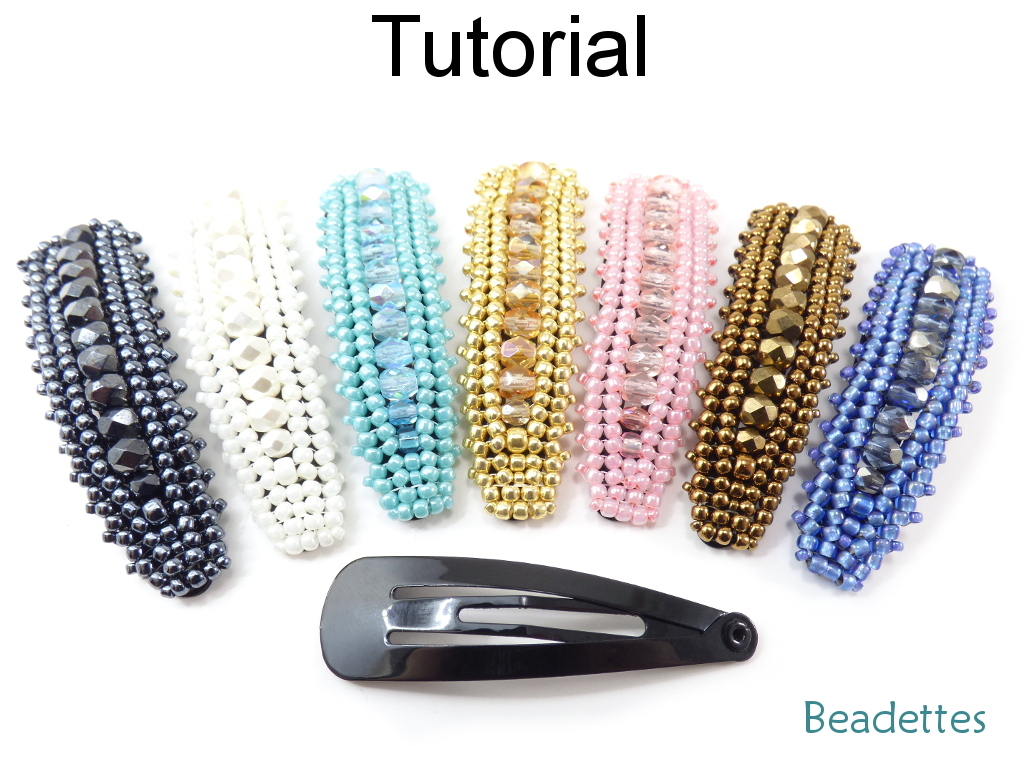 Beading Tutorial Pattern - Beaded Hair Snap Clip Barrette - Herringbone Stitch - Simple Bead Patterns - Beadettes #19240