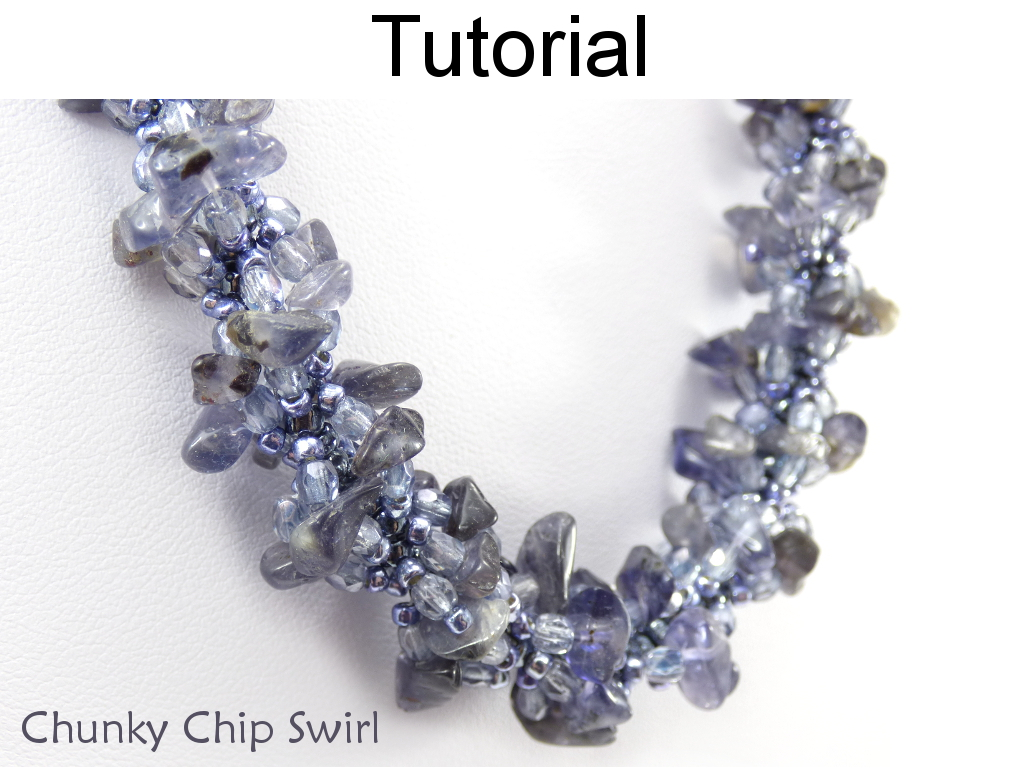 Beading Tutorial Necklace Bracelet Pattern - Gemstone Chip Spiral Rope - Spiral Stitch - Simple Bead Patterns - Chunky Chip Swirl #20046