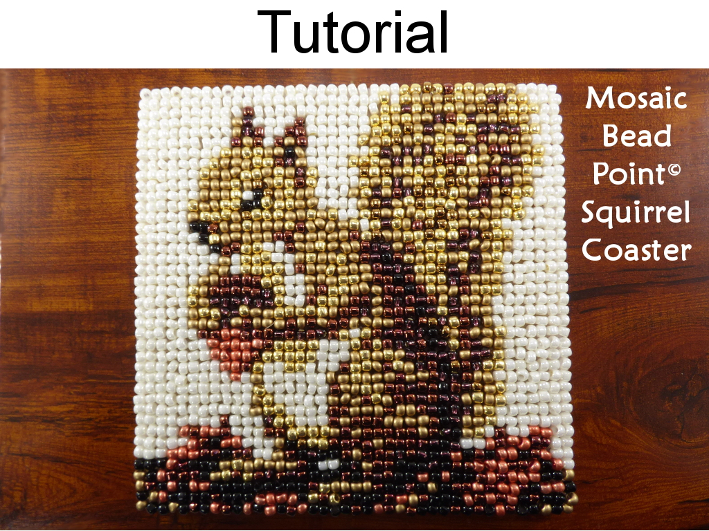 Beading Tutorial Pattern   Beaded Squirrel Coaster   Mosaic Beadpoint Home  Decor   Simple Bead Patterns