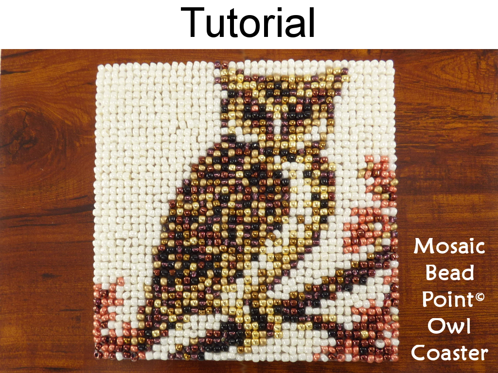 Beading Tutorial Pattern   Beaded Owl Coaster   Mosaic Beadpoint Home Decor    Simple Bead Patterns