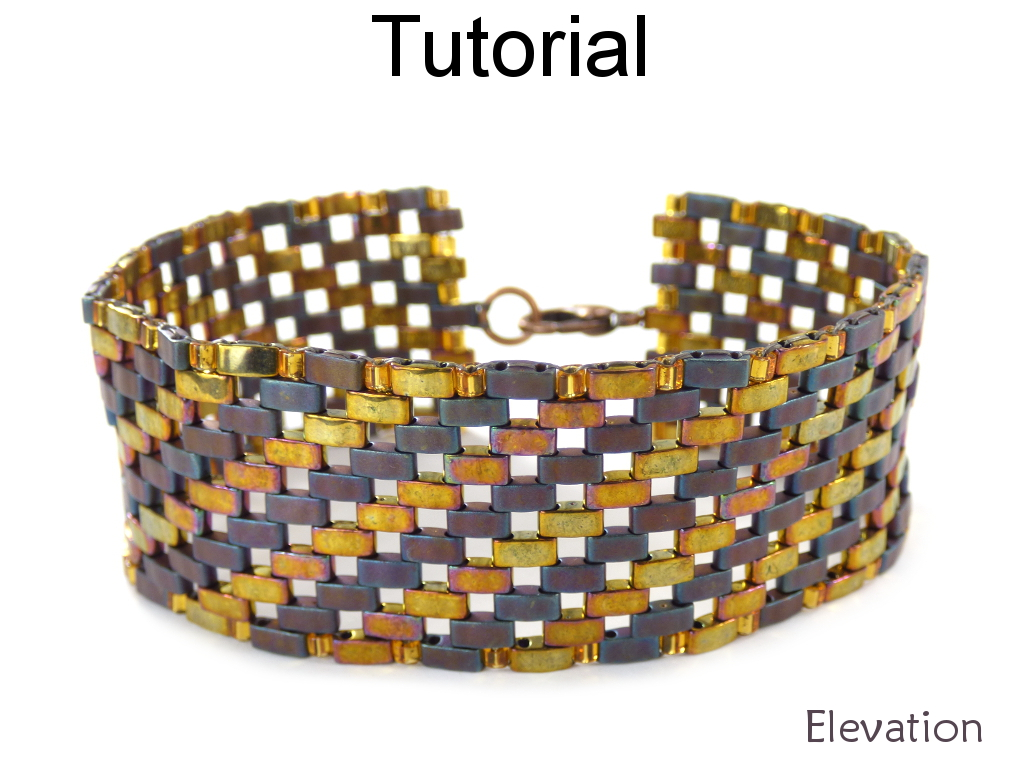 Bracelet Beading Tutorial Pattern - Miyuki Half Tila Beads - Diagonal Beadwoven Bracelet - Simple Bead Patterns - Elevation Bracelet #20526