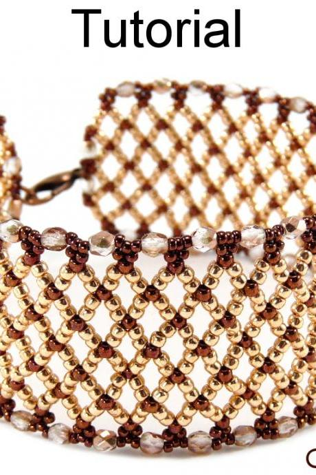 Beading Tutorial Pattern Bracelet - Netting Stitch - Simple Bead Patterns - Fabulous Open Netting #1292
