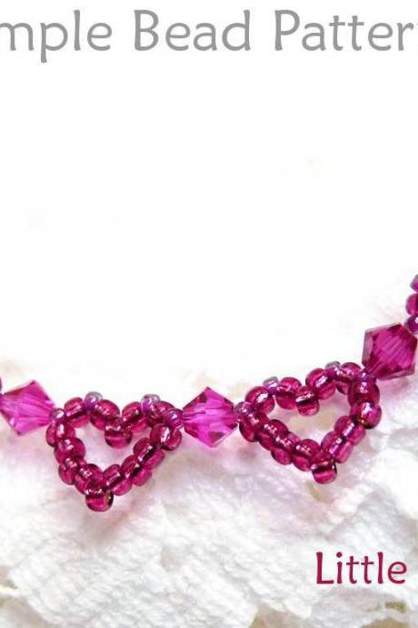 Jewelry Making Beading Pattern - Beaded Heart Bracelet Tutorial - Seed Beads - Crystals - Simple Bead Patterns - Little Hearts #65