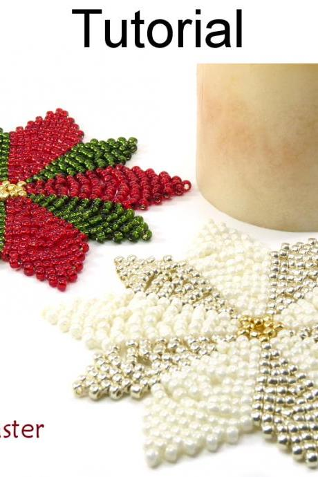 Christmas Holiday Poinsettia Snowflake Deocr - Simple Bead Patterns - Holiday Coaster and Decor #15112