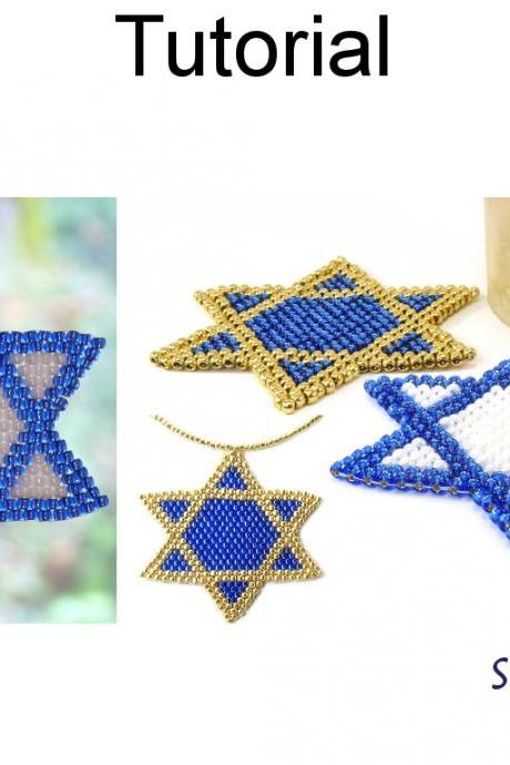 Beading Tutorial Pattern - Jewish Star of David - Necklace Coaster Window Decor - Simple Bead Patterns - Star of David Collection #16375