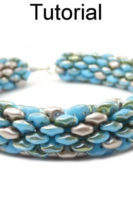 Beading Tutorial Pattern - SuperDuo Tubular Bracelet Necklace - Simple Bead Patterns - Palmetto #18059