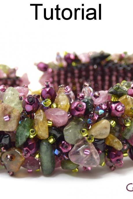 Beading Tutorial Bracelet Pattern - Gemstone Chip Fringe Cluster Bracelet - Fringe Square Stitch - Simple Bead Patterns - Gem Garden #19559