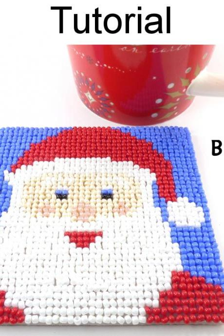Beading Tutorial Pattern - Beaded Santa Claus Coaster - Christmas Holiday Mosaic Beadpoint - Simple Bead Patterns - Santa Coaster #20315