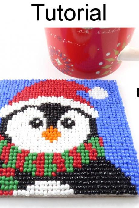 Beading Tutorial Pattern - Beaded Penguin Coaster - Christmas Holiday Mosaic Beadpoint - Simple Bead Patterns - Penguin Coaster #20312