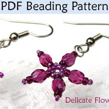 Flower Earrings Beading Pattern PDF, Beading Instructions, Tutorials, Jewelry Beading Tutorials, Patterns, Flower Wedding Jewerly #431