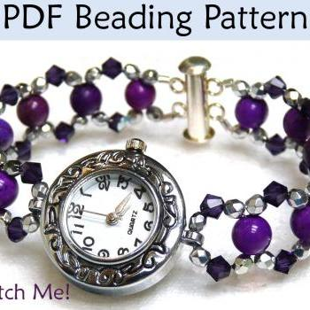 Beading Tutorial, Watch Bracelet Jewelry Pattern, Beads, PDF Instructions, Instant Download Digital File, Simple Bead Patterns #1580