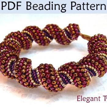 Beading Tutorial - Beaded Bracelet Necklace - Tubular Peyote Stitch - Simple Bead Patterns - Elegant Twist #16