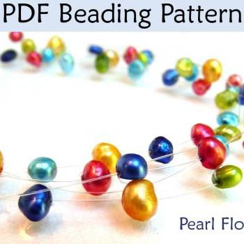 Beading Tutorial Pattern Necklace - Pearl Float Jewelry - Simple Bead Patterns - Pearl Float #1417