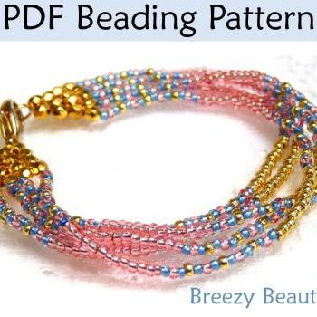 Jewelry Making Beading Tutorial Pattern Multi-Strand Bracelet - Brick Stitch - Simple Bead Patterns - Breezy Beautiful #1330