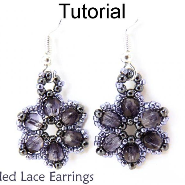 Jewelry Making Beading Tutorial Earrings - Beaded Flower Earrings - Simple Bead Patterns - Beaded Lace Earrings #270