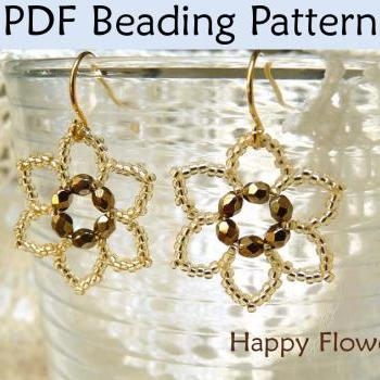 Beading Tutorial Pattern Earrings - Flower Jewelry - Simple Bead Patterns - Happy Flowers #417