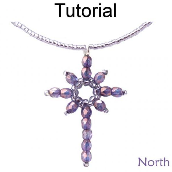 Beading Tutorial Pattern Earrings Pendant - Holiday Christmas Star - Simple Bead Patterns - North Star #342
