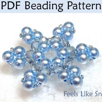 Beading Tutorial Pattern Necklace - Winter Snowflake Jewelry - Simple Bead Patterns - Feels Like Snow #379