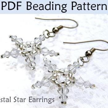 Beading Tutorial Pattern Earrings - Christmas Holiday Fourth of July Jewelry - Simple Bead Patterns - Crystal Star Earrings #305