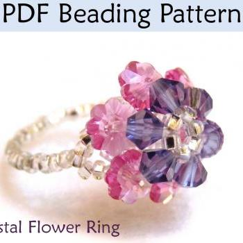 Beading Pattern Tutorial Beaded Ring Crystal Flower Beadstitching PDF #1910