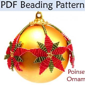 Beading Pattern Tutorial Christmas Ornament - Beadweaving - Simple Bead Patterns - Poinsettia Ornament #2962