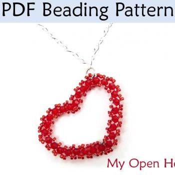 Beading Tutorial, Necklace Jewelry Pattern, Beaded Pendant Crystal Pearl Chain, Valentines Beautiful Romantic Gifts, Handmade #3770
