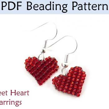 Beading Pattern Tutorial Valentines Heart Earrings - Square Stitch - Simple Bead Patterns - Sweetheart Earrings #3867